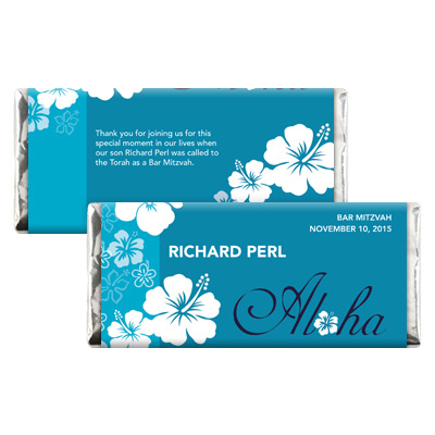 Aloha Blue Bar Mitzvah Candy Wrapper