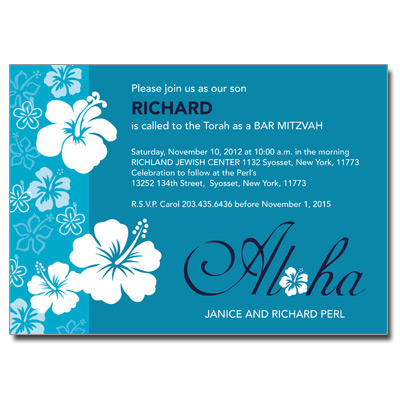 Aloha Blue Bar Mitzvah Invitation