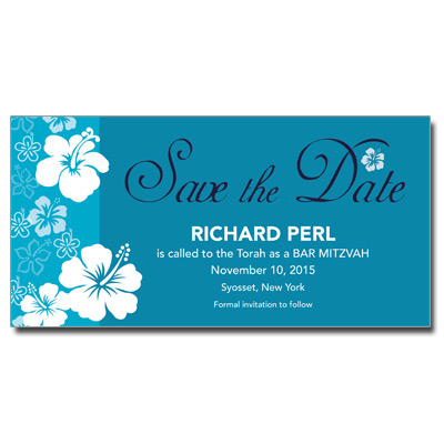 Aloha Blue Save the Date Bar Mitzvah Card With Magnet
