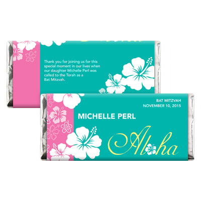 Aloha Pink Bat Mitzvah Candy Wrapper