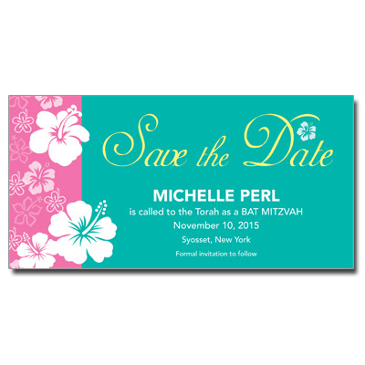 Aloha Pink Save the Date Bat Mitzvah Card With Magnet