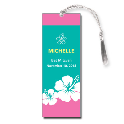 Aloha Pink Bat Mitzvah Bookmark