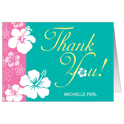 Aloha Pink Bat Mitzvah Thank You Card