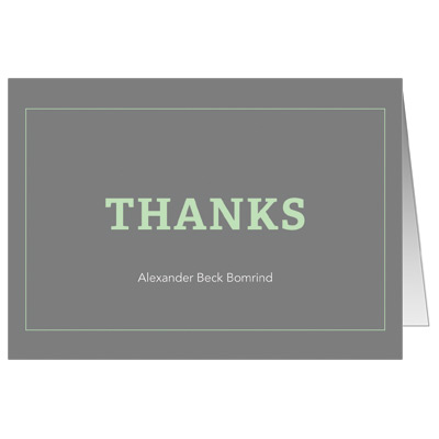 Classic Frame Mint Bar Mitzvah Thank You Card