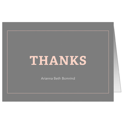 Classic Frame Peach Bat Mitzvah Thank You Card