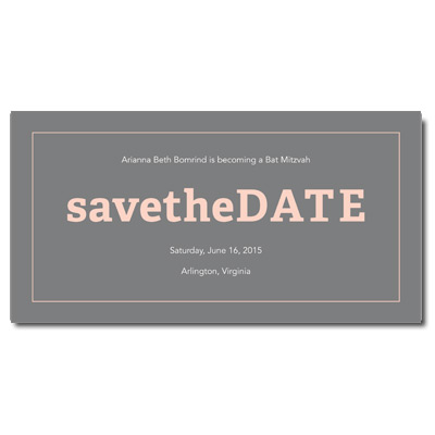 Classic Frame Peach Save the Date Bat Mitzvah Card With Magnet