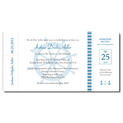 Boarding Pass Bar Mitzvah Invitation