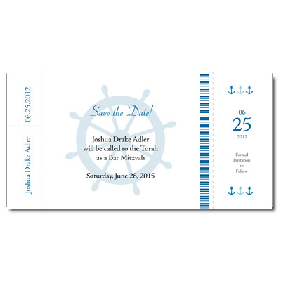 Boarding Pass Save the Date Bar Mitzvah Card