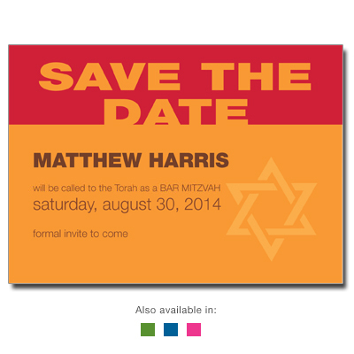 Bold Color Save the Date Bar Mitzvah Cards