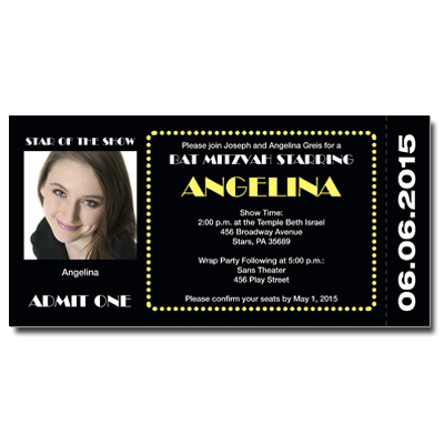 Broadway Ticket Bar Mitzvah Invitation