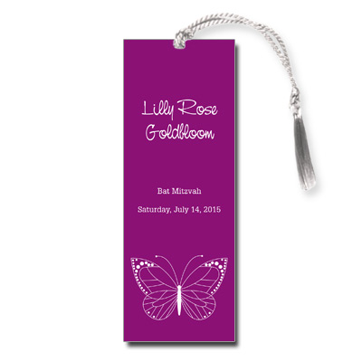 Fuchsia Butterfly Bat Mitzvah Bookmark