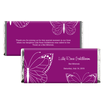 Fuchsia Butterfly Bat Mitzvah Candy Wrapper