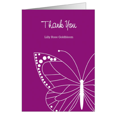 Fuchsia Butterfly Bat Mitzvah Thank You Card