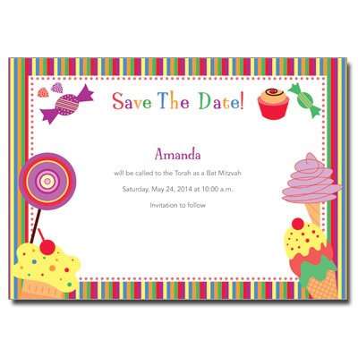 Candyland Save the Date Bat Mitzvah Card with Magnet