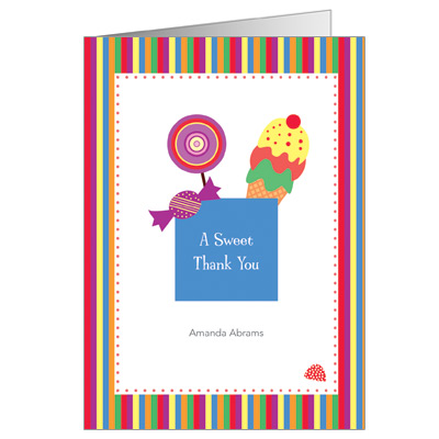 Candyland Bar Mitzvah Thank You Card