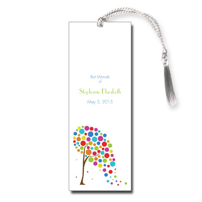 Colorful Tree Bat Mitzvah Bookmark