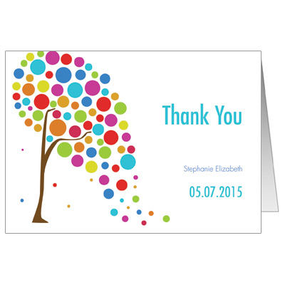 Colorful Tree Bar Mitzvah Thank You Card