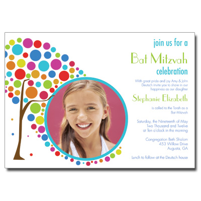 Colorful Tree Photo Bar Mitzvah Invitation