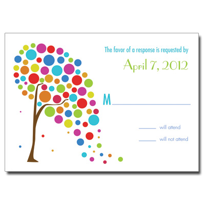 Colorful Tree Bar Mitzvah Response Card