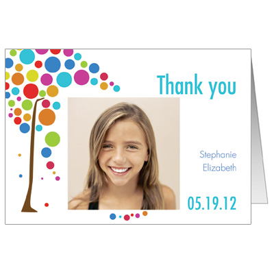 Colorful Tree Photo Bar Mitzvah Thank You Card
