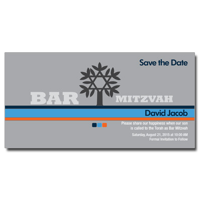Contempo Stripes Blue Save the Date Bar Mitzvah Card