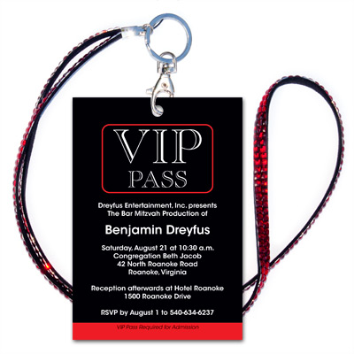 VIP Bar Mitzvah Invitation w/Red Jeweled Lanyard