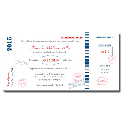 Flight Pass Bar Mitzvah Invitation