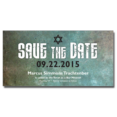 Granite Grunge Save the Date Bar Mitzvah Card