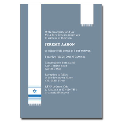 Holy Tallit Blue Bar Mitzvah Invitation