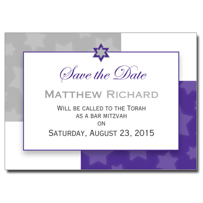 Indigo Star Save the Date Bar Mitzvah Card
