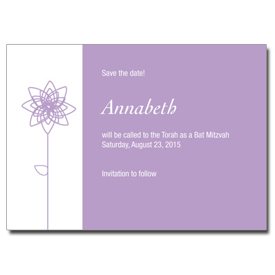 Lavender Blooms Save the Date Bat Mitzvah Card