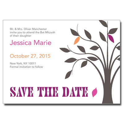 Living Tree Girl Save the Date Bat Mitzvah Card With Magnet