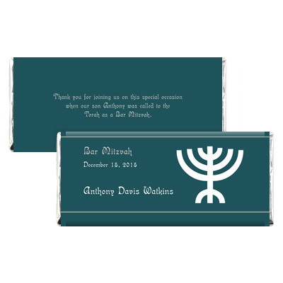 Menorah Bar Mitzvah Candy Wrapper