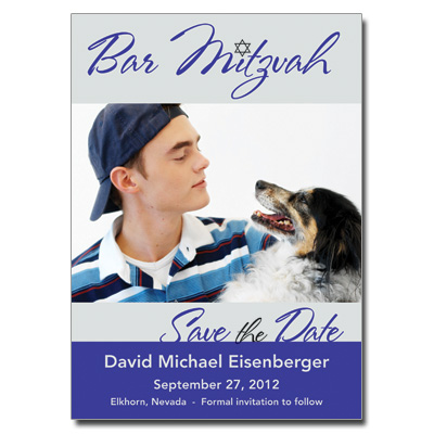 Mitzvah Star Save The Date Bar Mitzvah Card With Magnet
