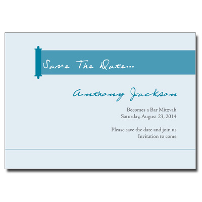 Modern Torah Blue Save the Date Bar Mitzvah Card