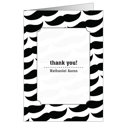 Moustache Bar Mitzvah Thank You Card