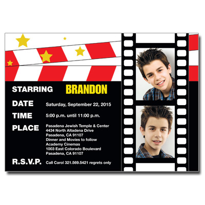 Movie Star Theme Bar Mitzvah Invitation