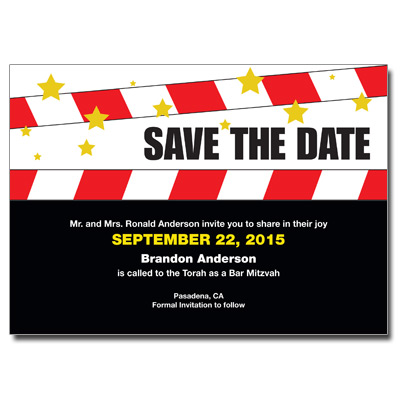 Movie Star Save The Date Bar Mitzvah Card With Magnet