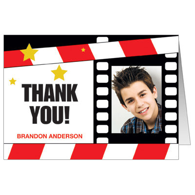Movie Star Theme Bar Mitzvah Thank You Cards