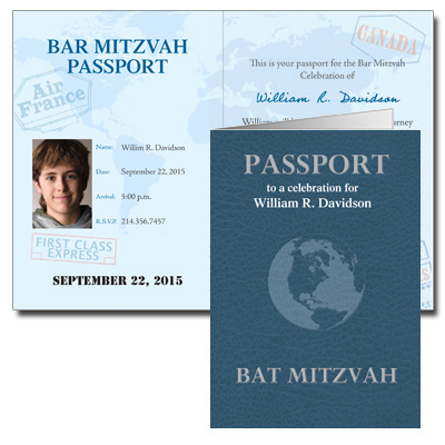 Passport Bar Mitzvah Invitation