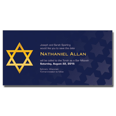 Reflection Save the Date Bar Mitzvah Card With Magnet