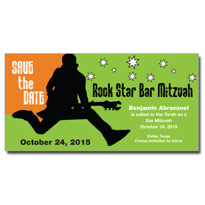 Rock Star Save The Date Bar Mitzvah Card With Magnet