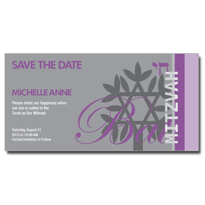 Rooted Purple Save the Date Bat Mitzvah Card w/ Magnet