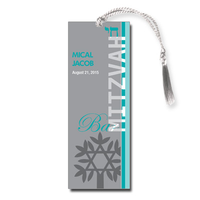Rooted Teal Bar Mitzvah Bookmark
