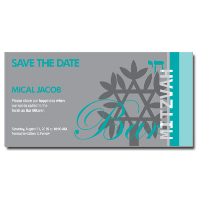 Rooted Teal Save the Date Bar Mitzvah Card w/ Magnet