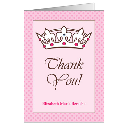 Royal Bat Mitzvah Thank You Card