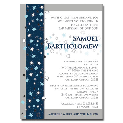 Shining Stars Bar Mitzvah Invitation