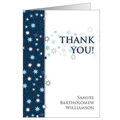 Shining Stars Bar Mitzvah Thank You Card