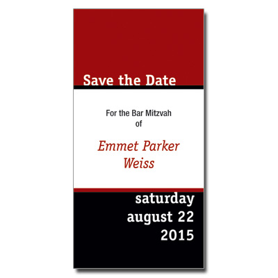 Simply Striking Save the Date Bar Mitzvah Card