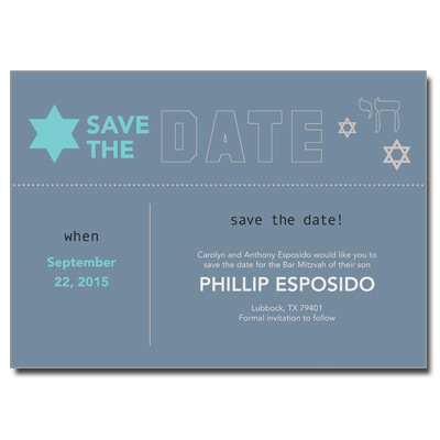 Six Points Save the Date Bar Mitzvah Card With Magnet